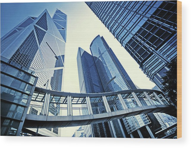 Corporate Business Wood Print featuring the photograph Modern Office Buildings by Nikada