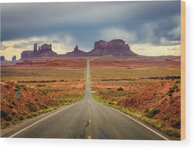 Scenics Wood Print featuring the photograph Monument Valley by Posnov