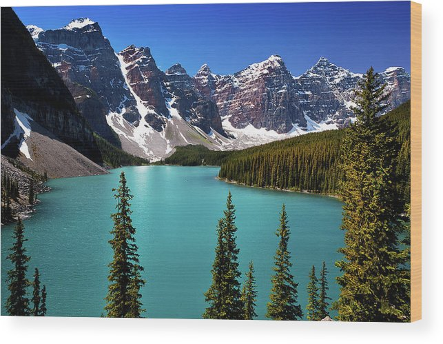Scenics Wood Print featuring the photograph Moraine Lake, Banff National Park by Edwin Chang Photography