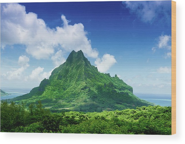 Scenics Wood Print featuring the photograph Mount Roto Nui Volcanic Mountain Moorea by Mlenny