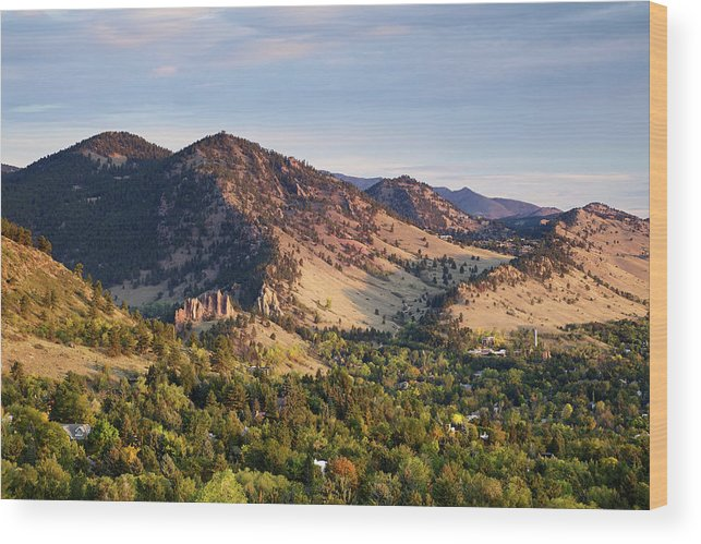 Scenics Wood Print featuring the photograph Mount Sanitas And Fall Colors In by Beklaus