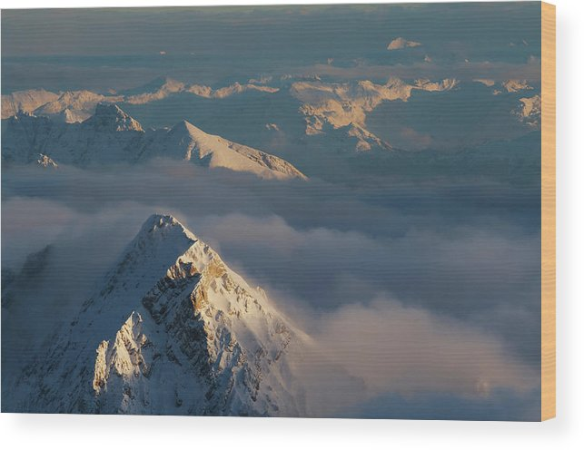 Scenics Wood Print featuring the photograph Mt. Zugspitze 6 - Bavaria Germany by Wingmar