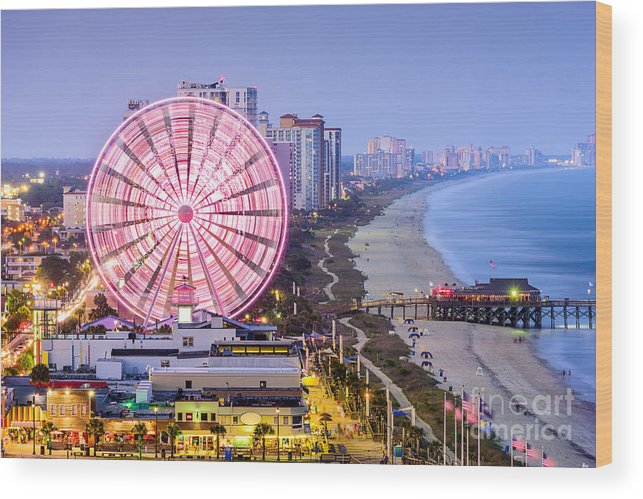 Usa Wood Print featuring the photograph Myrtle Beach South Carolina Usa City by Sean Pavone