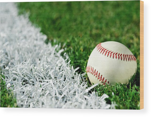Grass Wood Print featuring the photograph New Baseball Along Foul Line by Cmannphoto