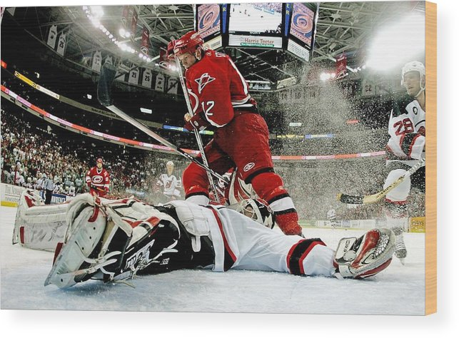Playoffs Wood Print featuring the photograph New Jersey Devils V Carolina Hurricanes by Bruce Bennett
