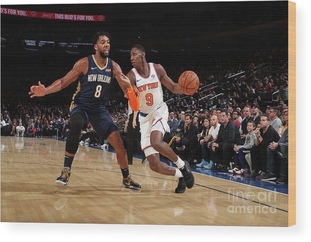 Nba Pro Basketball Wood Print featuring the photograph New Orleans Pelicans V New York Knicks by Nathaniel S. Butler
