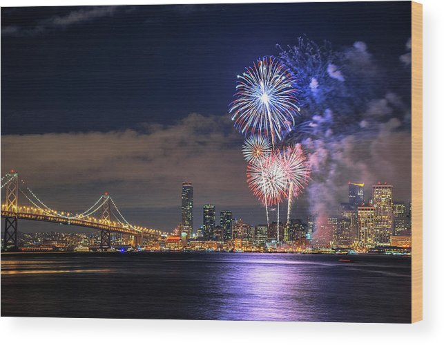 Firework Display Wood Print featuring the photograph New Year Fireworks by Piriya Photography