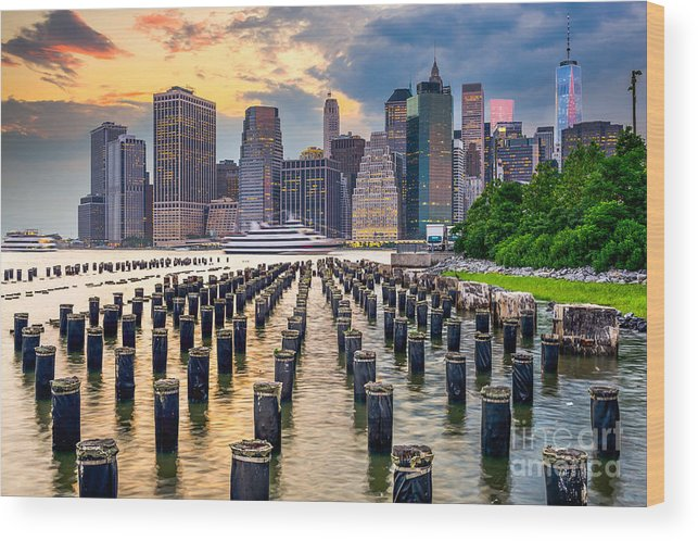 Usa Wood Print featuring the photograph New York City, Usa City Skyline On The by Sean Pavone