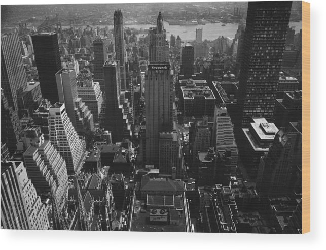 Architectural Feature Wood Print featuring the photograph Newsweek Building by William Lovelace