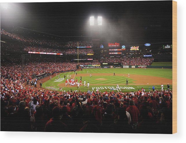 St. Louis Cardinals Wood Print featuring the photograph Nlcs - San Francisco Giants V St Louis by Michael Thomas