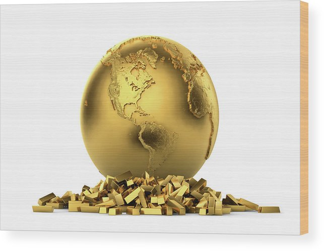 White Background Wood Print featuring the digital art North And South America With Gold Bars by Bjorn Holland