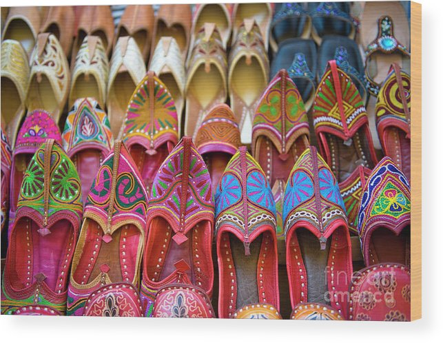 Jaisalmer Wood Print featuring the photograph Numerous Colorful Embroidered Shoes by Tarzan9280