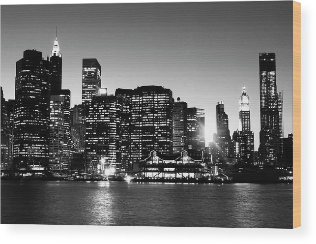 Lower Manhattan Wood Print featuring the photograph Nyc Skyline At Sunset by Lisa-blue