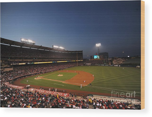 American League Baseball Wood Print featuring the photograph Oakland Athletics V Los Angeles Angels by Rich Pilling