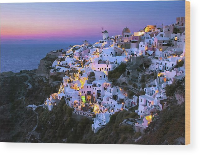 Greek Culture Wood Print featuring the photograph Oia Lights At Sunset by Greg Gibb Photography