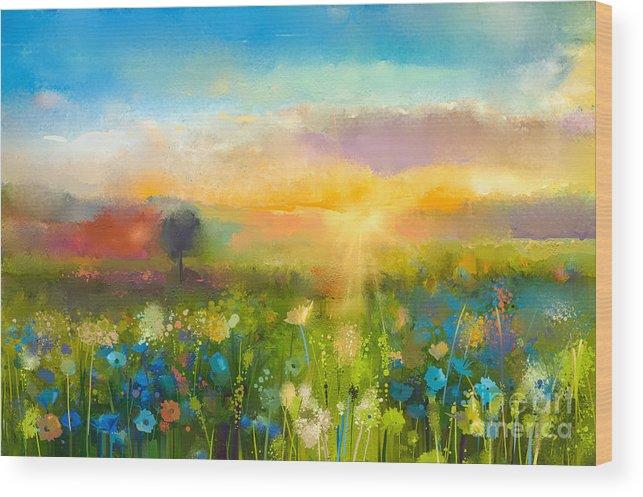 Beauty Wood Print featuring the digital art Oil Painting Flowers Dandelion by Pluie r