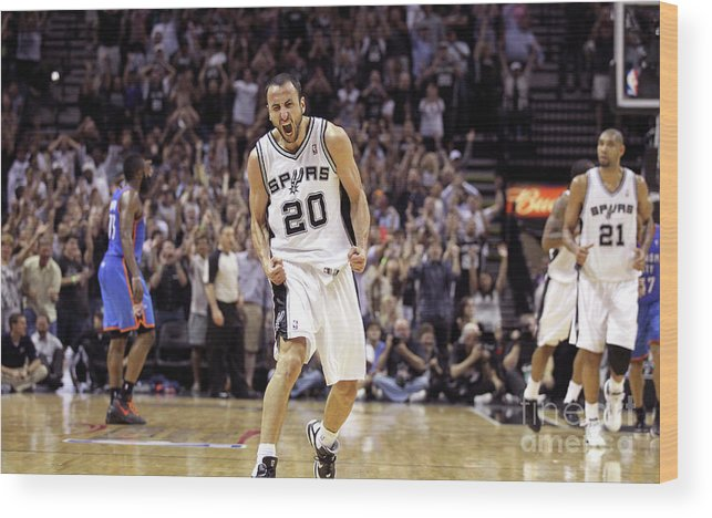 Playoffs Wood Print featuring the photograph Oklahoma City Thunder V San Antonio by Layne Murdoch