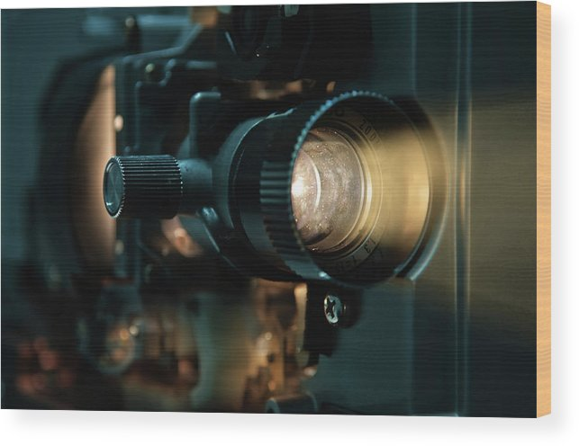 Equipment Wood Print featuring the photograph Old Fashioned Film Projector by Efcarlos