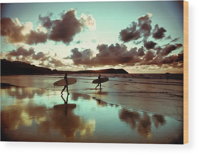 Water's Edge Wood Print featuring the photograph Old Skool Surf by Landscapes, Seascapes, Jewellery & Action Photographer