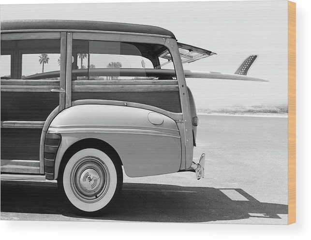 1950-1959 Wood Print featuring the photograph Old Woodie Station Wagon With Surfboard by Skodonnell