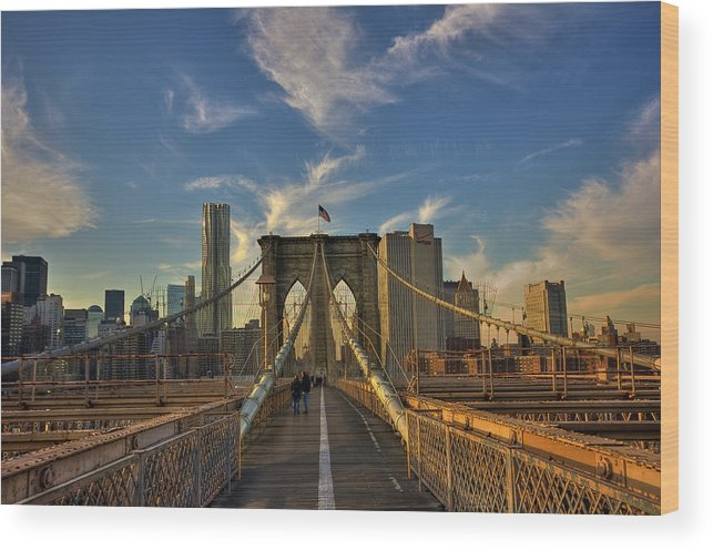 Built Structure Wood Print featuring the photograph On The Way To Manhattan by Alexander Matt Photography