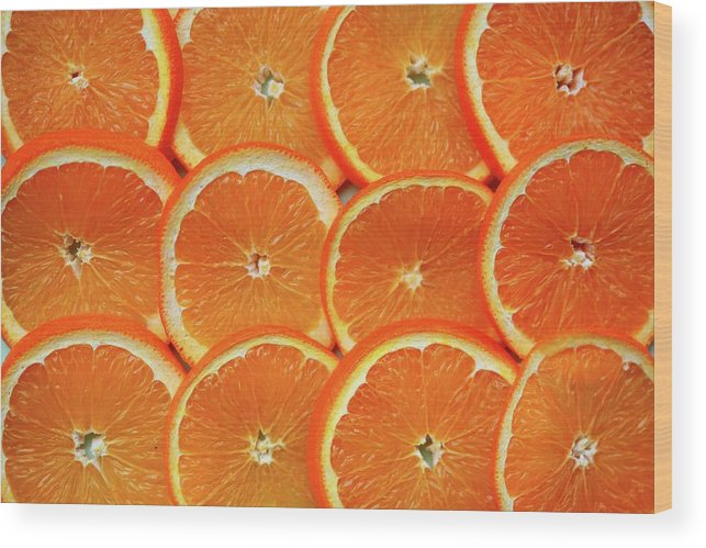 Orange Color Wood Print featuring the photograph Orange Fruit Slices by D. Sharon Pruitt Pink Sherbet Photography