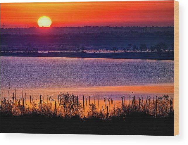 Scenics Wood Print featuring the photograph Orange Sunrise On Benbrook Lake by Dean Fikar