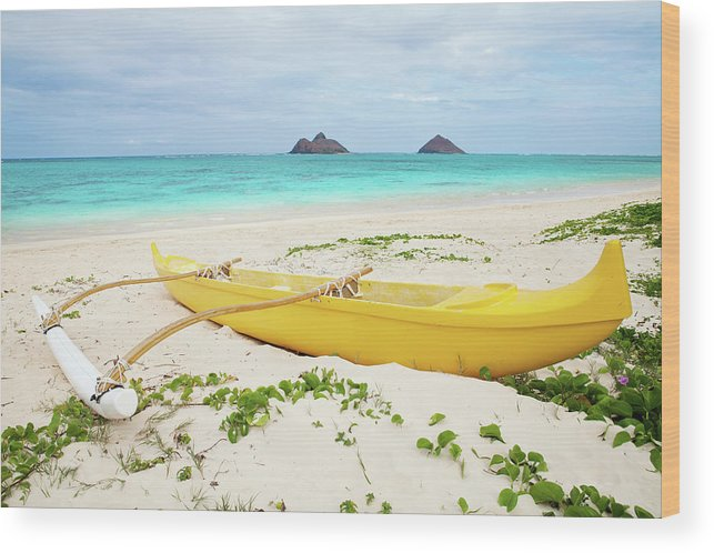 Scenics Wood Print featuring the photograph Outrigger Canoe Lanikai Beach by M Swiet Productions