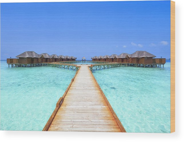 Beach Hut Wood Print featuring the photograph Overwater Bungalows Boardwalk by Cinoby