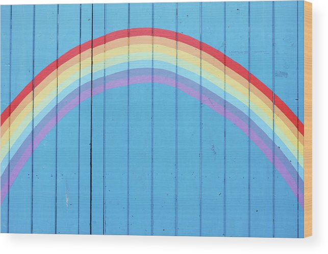 Art Wood Print featuring the photograph Painted Rainbow On Wooden Fence by Richard Newstead
