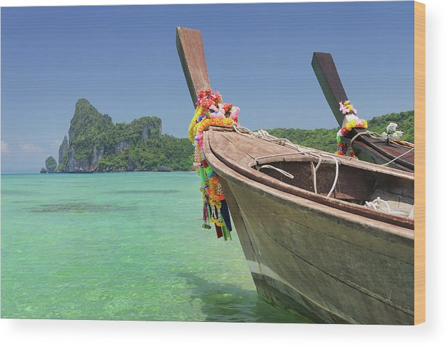 Tropical Rainforest Wood Print featuring the photograph Paradise Tropical Beach With Longtail by 4fr