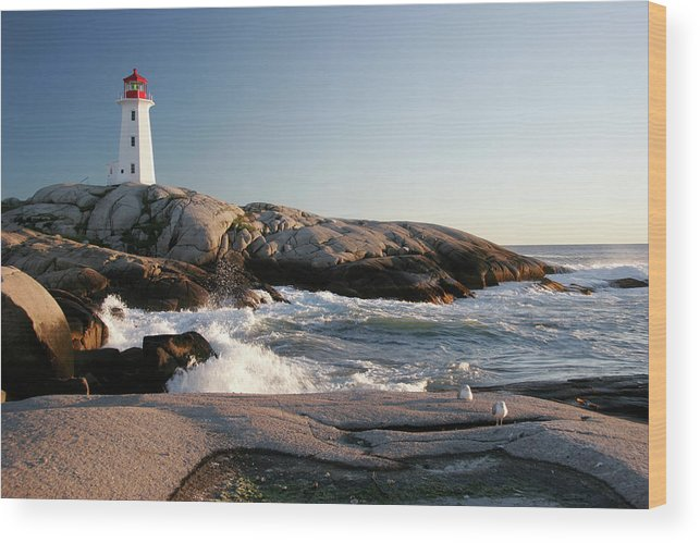 Water's Edge Wood Print featuring the photograph Peggys Cove Lighthouse & Waves by Cworthy