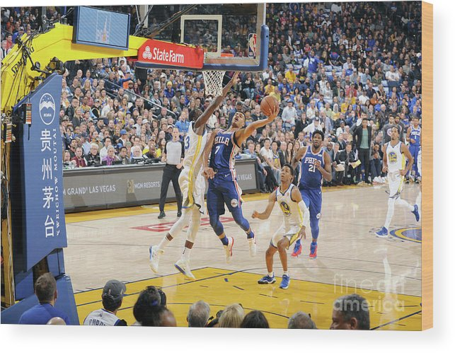 Nba Pro Basketball Wood Print featuring the photograph Philadelphia 76ers V Golden State by Andrew D. Bernstein