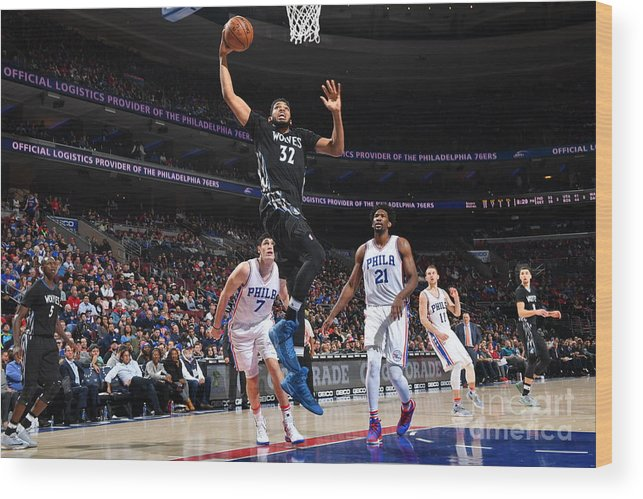 Nba Pro Basketball Wood Print featuring the photograph Philadelphia 76ers V Minnesota by Jesse D. Garrabrant