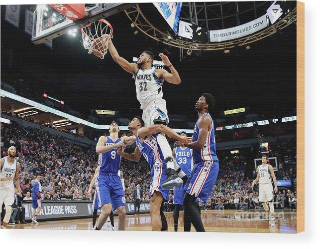 Nba Pro Basketball Wood Print featuring the photograph Philadelphia 76ers V Minnesota by Jordan Johnson