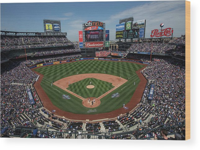 American League Baseball Wood Print featuring the photograph Philadelphia Phillies V. New York Mets by Anthony Causi