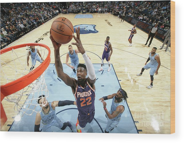 Nba Pro Basketball Wood Print featuring the photograph Phoenix Suns V Memphis Grizzlies by Ned Dishman
