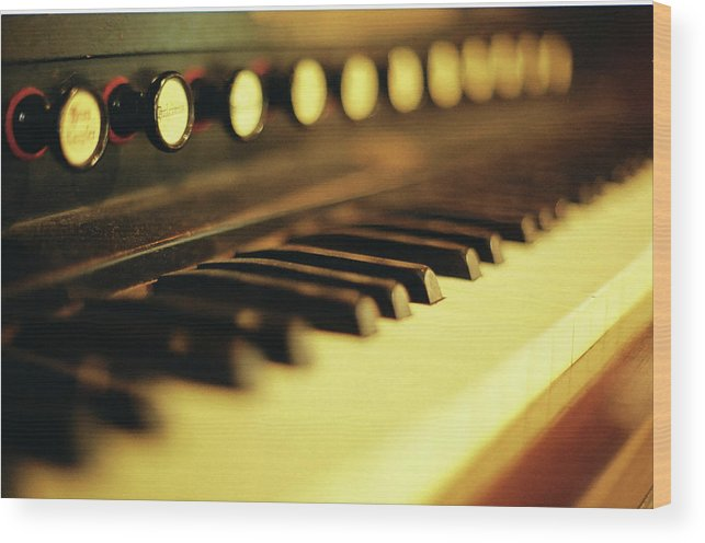 Piano Wood Print featuring the photograph Piano Keys And Buttons by Photographer, Loves Art, Lives In Kyoto