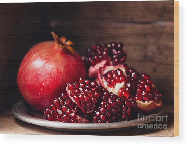 Tray Wood Print featuring the photograph Pieces And Grains Of Ripe Pomegranate by Lisovskaya Natalia