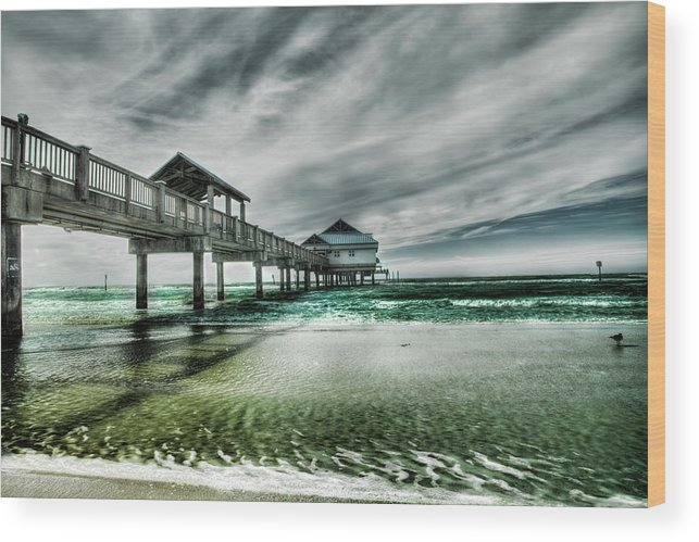 Water's Edge Wood Print featuring the photograph Pier by Chumbley Photography