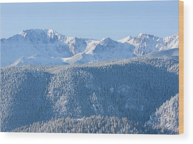 Extreme Terrain Wood Print featuring the photograph Pikes Peak In Fresh Snow by Swkrullimaging