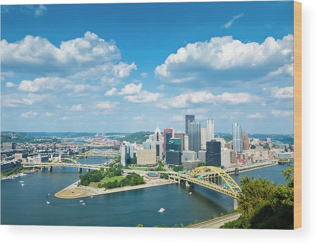 Arch Wood Print featuring the photograph Pittsburgh, Pennsylvania Skyline With by Drnadig