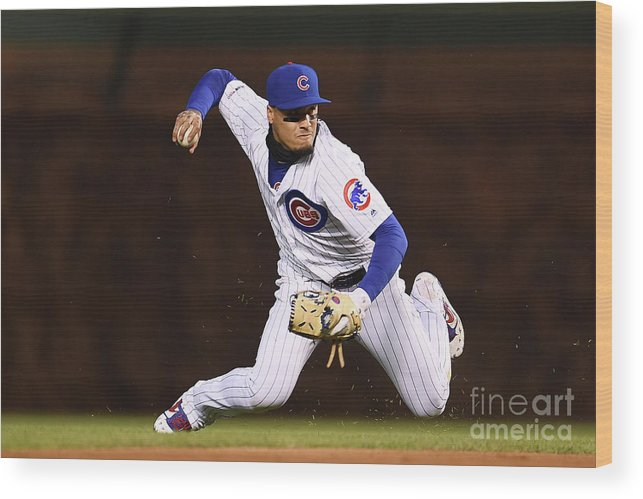 American League Baseball Wood Print featuring the photograph Pittsburgh Pirates V Chicago Cubs by Stacy Revere