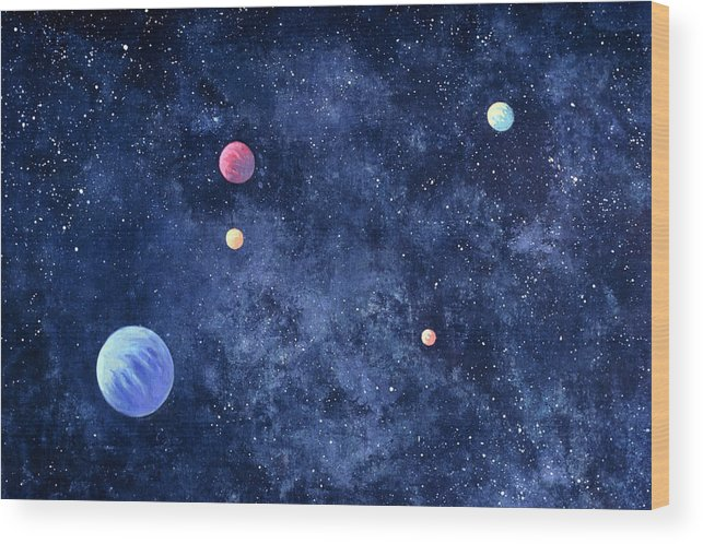 The Media Wood Print featuring the photograph Planets In Solar System by Huntstock