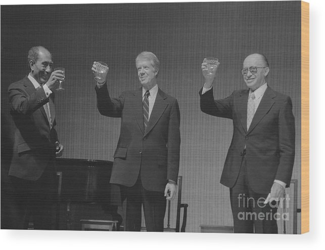 Following Wood Print featuring the photograph Political Leaders Following State Dinner by Bettmann
