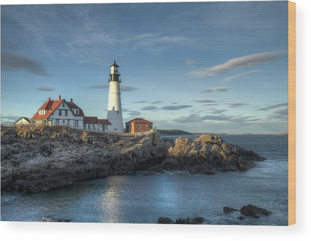 Outdoors Wood Print featuring the photograph Portland Head Lighthouse by Kenneth C. Zirkel