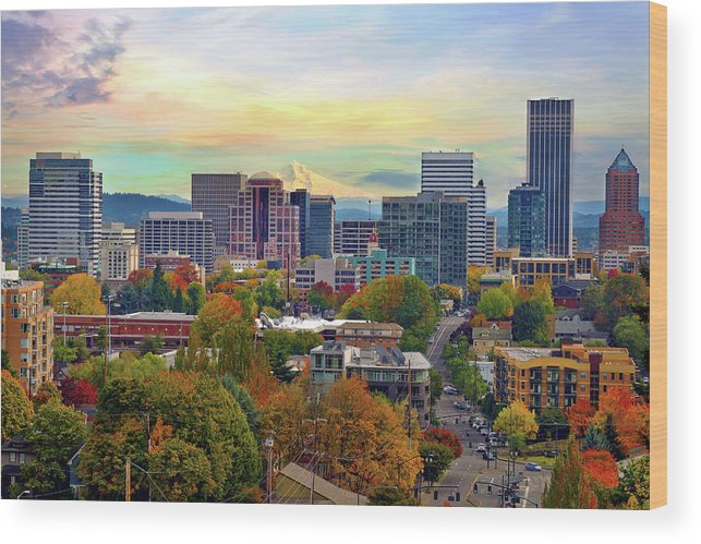 Viewpoint Wood Print featuring the photograph Portland Oregon Downtown Cityscape In by David Gn Photography