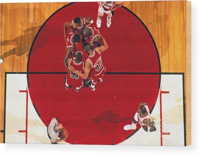 Nba Pro Basketball Wood Print featuring the photograph Portland Trailblazers Vs. Chicago Bulls by Brian Drake