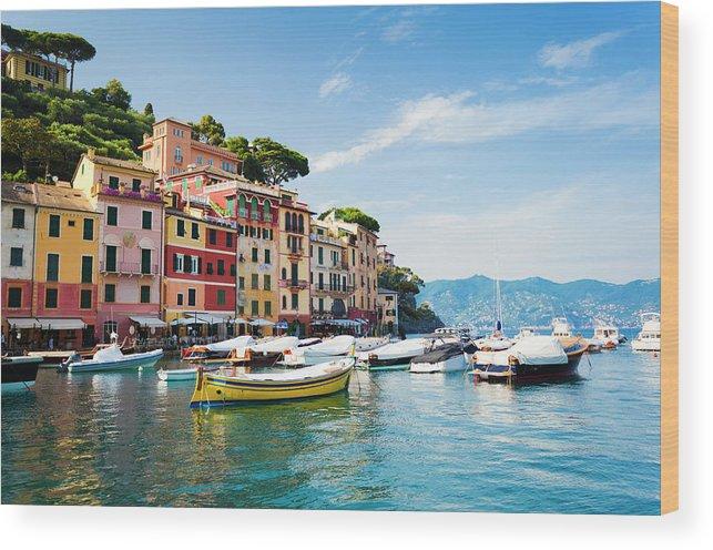 Water's Edge Wood Print featuring the photograph Portofino, Liguria, Italy by Brzozowska