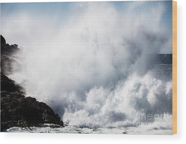 Francisco Wood Print featuring the photograph Powerful Waves Explode Against The by Ethan Daniels
